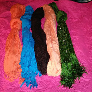 Lot of 5 Scarfs 4 Long with tassells 1 Infinity